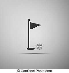 Golf ball and hole with flag icon isolated on grey background. Golf course. Ball and flagstick in hole. Sport concept. Flat design. Vector Illustration