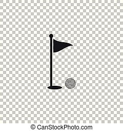 Golf ball and hole with flag icon isolated on transparent background. Golf course. Ball and flagstick in hole. Sport concept. Flat design. Vector Illustration
