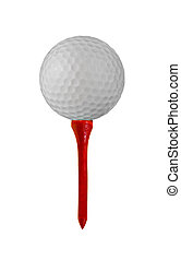 Golf Ball and Tee - Golf ball on a tee isolated on white