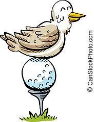 Golf Ball Bird Perch - A happy cartoon bird rests, perched ...