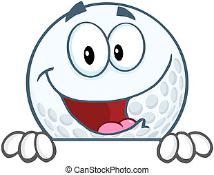 Golf Ball Character Over Sign
