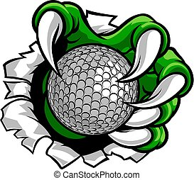 A sports claw or monster hand holding a golf ball