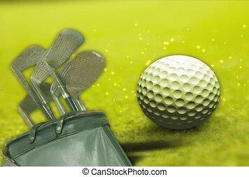 Golf Ball, Clubs and Bag