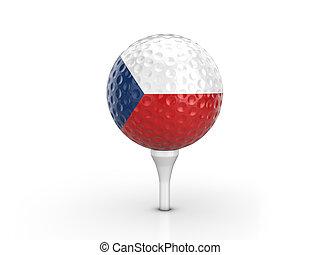 Golf ball Czech Republic flag