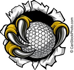 Golf Ball Eagle Claw Talons Ripping Background