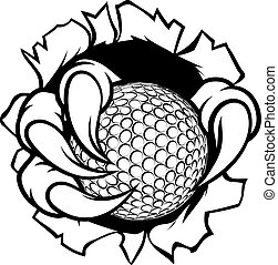 Golf Ball Eagle Claw Talons Tearing Background