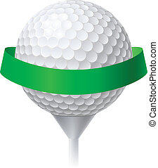 Golf Ball with Green Ribbon. Illustration on white...