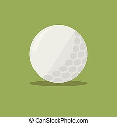 Golf ball flat icon with shadow on green background. Vector Illustration