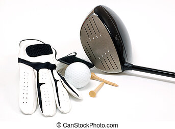 Golf ball glove and driver on a white background