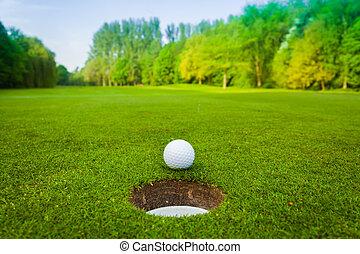golf, ball., golf bold, ind, fairway