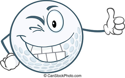Golf Ball Holding A Thumb Up