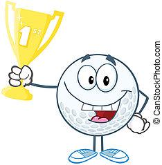 Golf Ball Holding Golden Trophy Cup