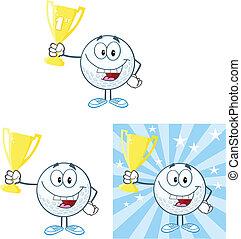 Golf Ball Holding Up A Golden Cup