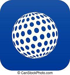 Golf ball icon blue vector