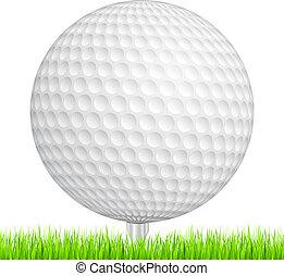 Golf ball in a green grass