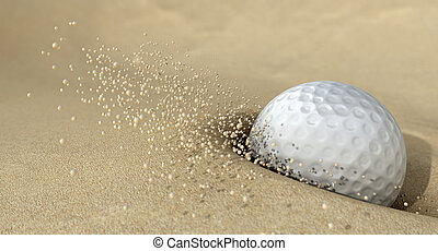 Golf Ball In Action Hitting Bunker Sand