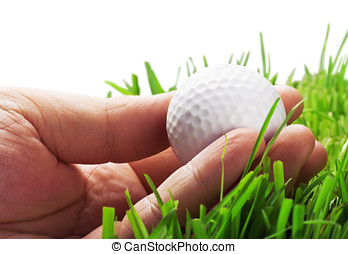 golf ball in his hand