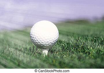 Golf ball in tall green grass
