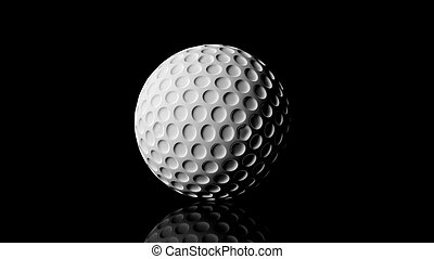 Golf ball, isolated on black background with reflection.