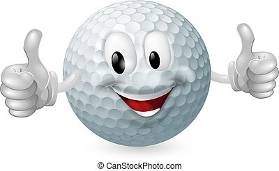 Golf Ball Mascot - Illustration of a cute happy golf ball...