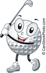 Golf Ball Mascot - Mascot Illustration of a Golf Ball...