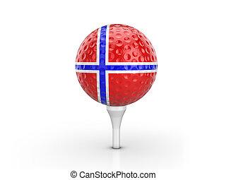 Golf ball Norway flag