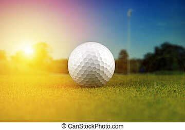 Golf ball on a golf course during sunset