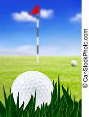 Golf ball on a golf course