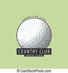 Golf ball on a green background