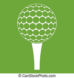 Golf ball on a tee icon green