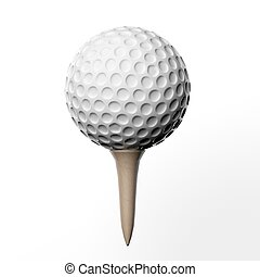 Golf ball on a tee, isolated on white background