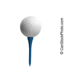 Golf ball on a tee isolated