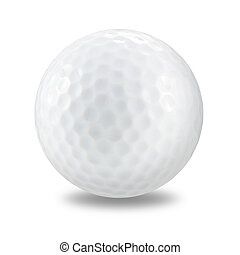 golf ball on a white background with clipping path