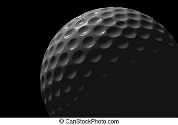 Golf ball on black background