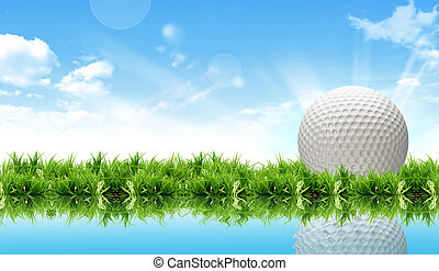 golf ball on course in front of driver - golf ball on course...