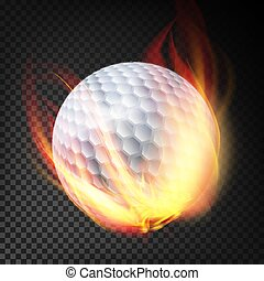 Golf Ball On Fire. Burning Style. Illustration Isolated On Transparent Background