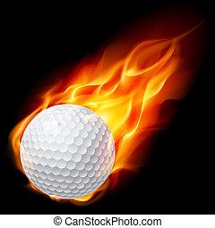 Golf ball on fire. Illustration on black background