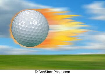 Golf Ball on Fire - Golf ball on fire traveling at a high...