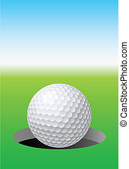 Golf ball on golf course. Illustration for design