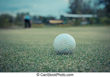 Golf ball on green and Golf player