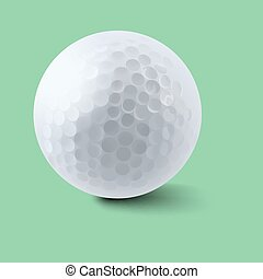 Golf ball on green background