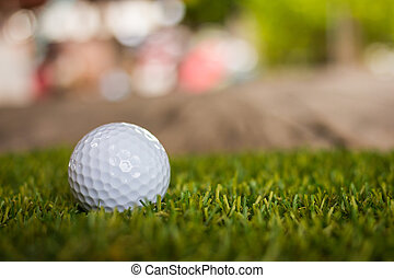 Golf ball on green grass for golfing