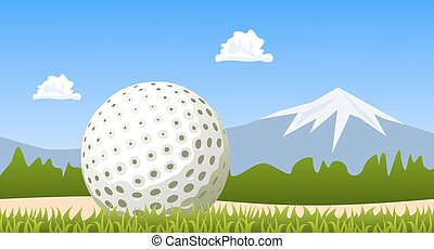 Golf ball on green grass. Vector