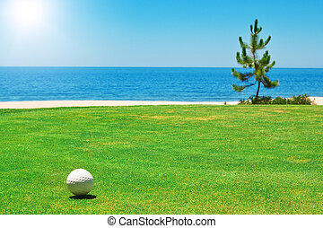 Golf ball on green grass with the ocean. Portugal.
