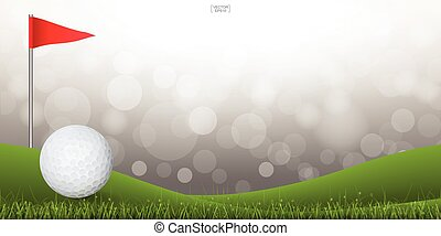 Golf ball on green hill of golf court with light blurred bokeh background. Vector.