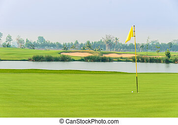 golf ball on green near hole with yellow flag