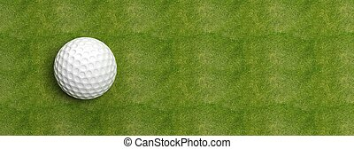 Golf ball on green turf banner