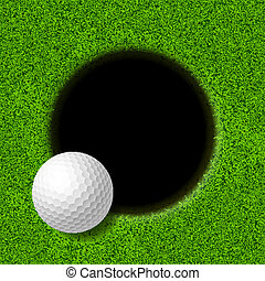 Golf ball on lip of cup illustration