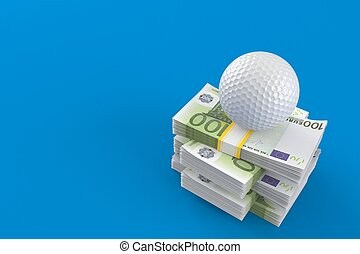 Golf ball on stack of money