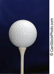 Golf Ball on Tee - A White golf ball on a White tee against ...